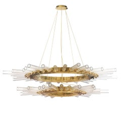 Fall Double Ring Suspension with Crystal Glass Cylinders