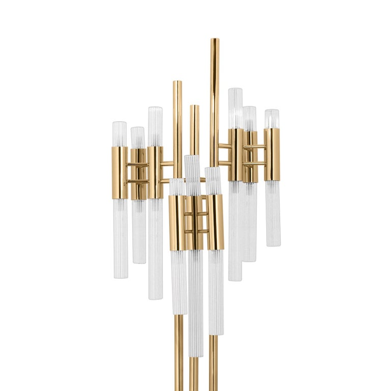 Floor lamp fall with crystal glass tubes and gold-plated polished brass structure. With grey Carrara marble ring around basement. With 18 halogen bulbs, lamp holder type G9. 40 watt max, for 220-240V. Bulbs not included.