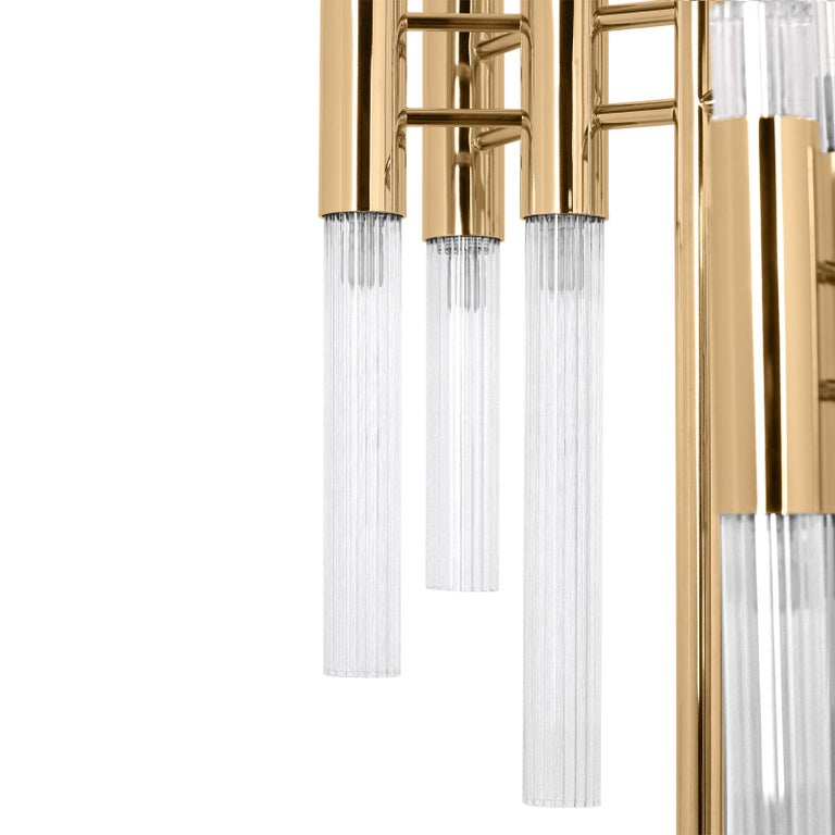 Portuguese Fall Floor Lamp with Gold-Plated Solid Brass For Sale