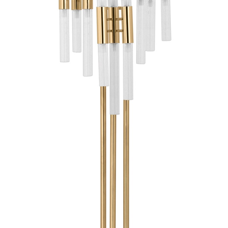 Hand-Carved Fall Floor Lamp with Gold-Plated Solid Brass For Sale