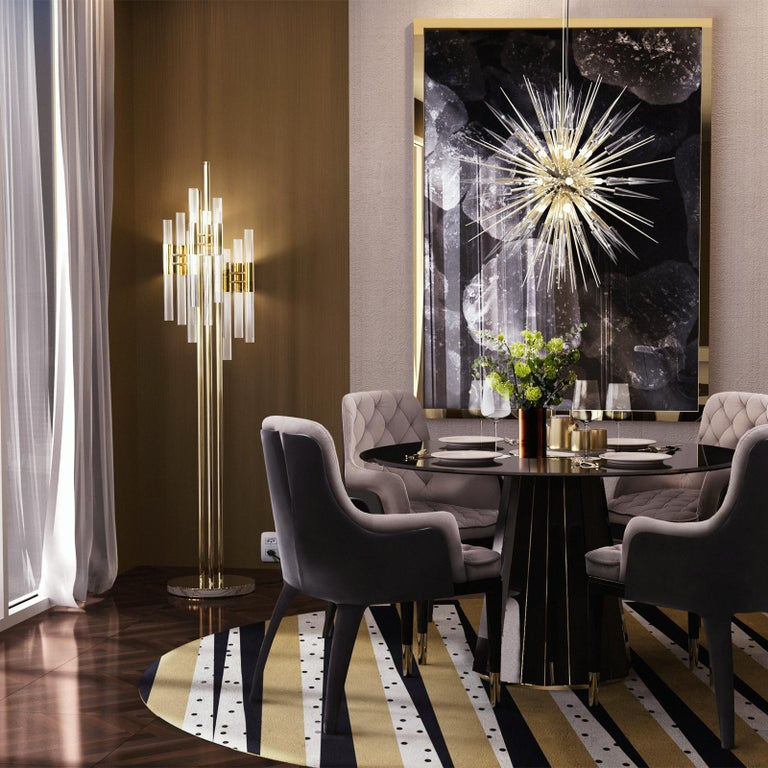 Gold Plate Fall Floor Lamp with Gold-Plated Solid Brass For Sale