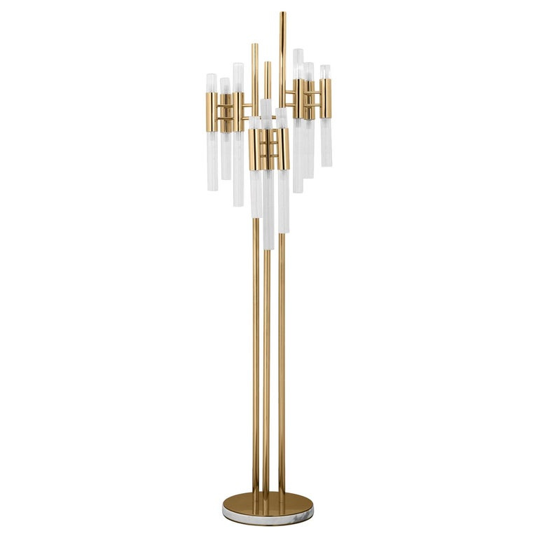Fall Floor Lamp with Gold-Plated Solid Brass For Sale