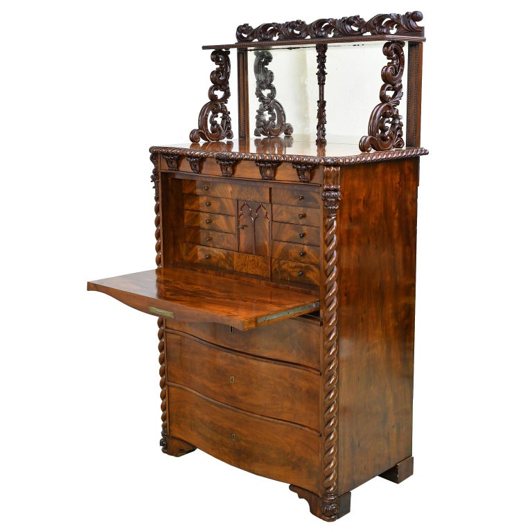 Fall-Front Desk in West Indies Mahogany Attributable to Hetsch, Denmark For Sale 9