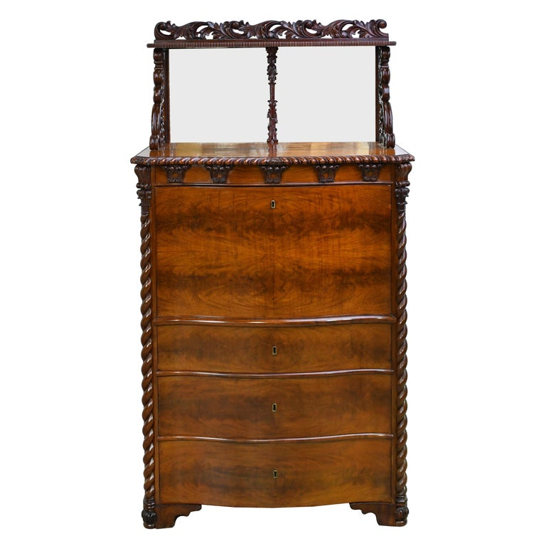 Danish Fall-Front Desk in West Indies Mahogany Attributable to Hetsch, Denmark For Sale