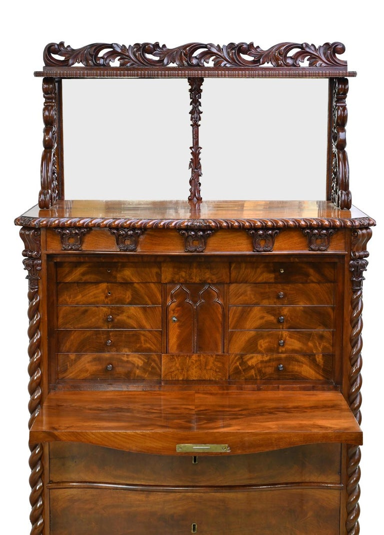 Hand-Carved Fall-Front Desk in West Indies Mahogany Attributable to Hetsch, Denmark For Sale