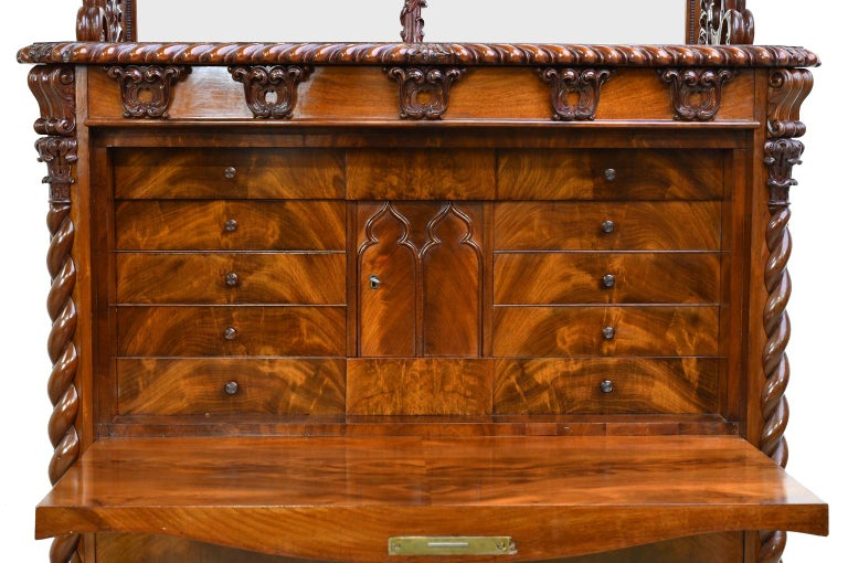 Mid-19th Century Fall-Front Desk in West Indies Mahogany Attributable to Hetsch, Denmark For Sale