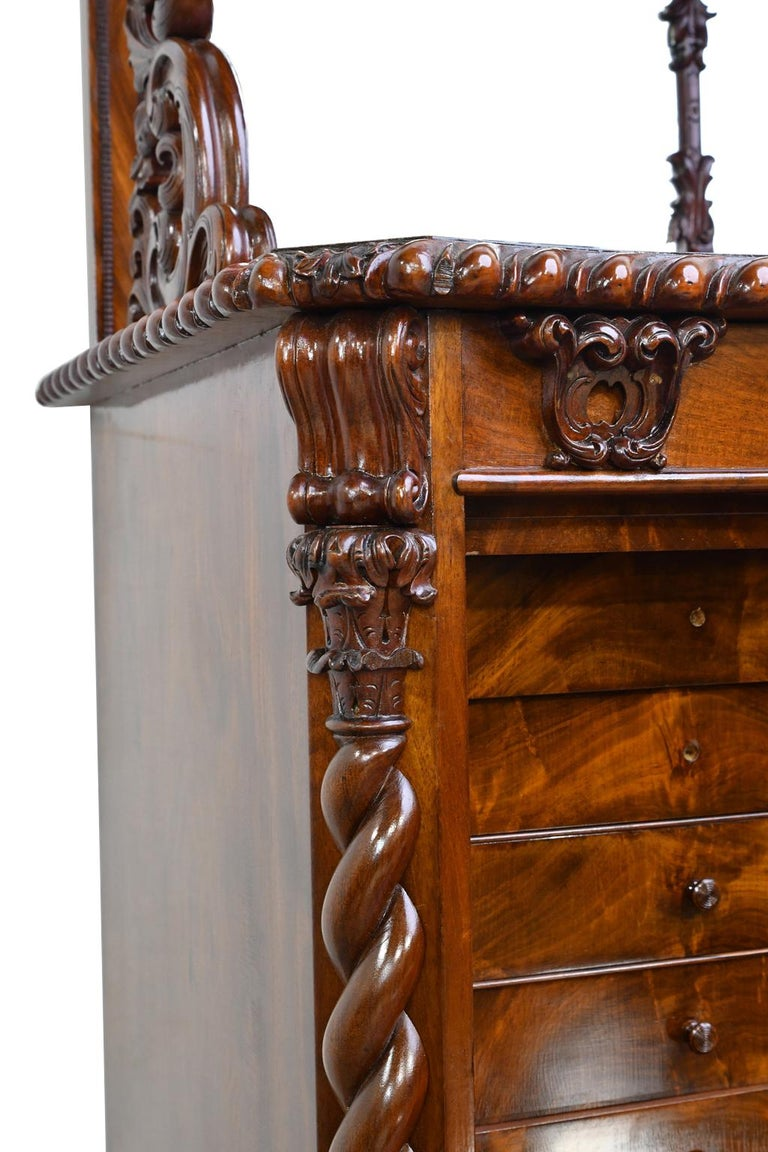 Fall-Front Desk in West Indies Mahogany Attributable to Hetsch, Denmark For Sale 2