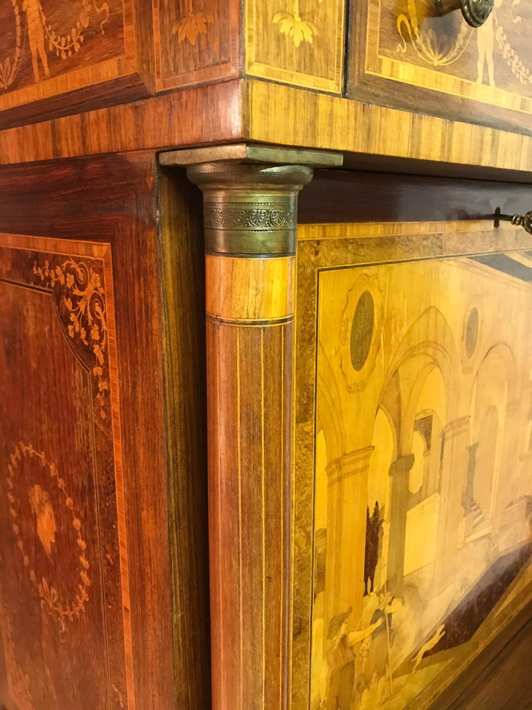 Fall Top Desk, Italy 1870-1890, Manner of Giuseppe Maggiolini For Sale 12