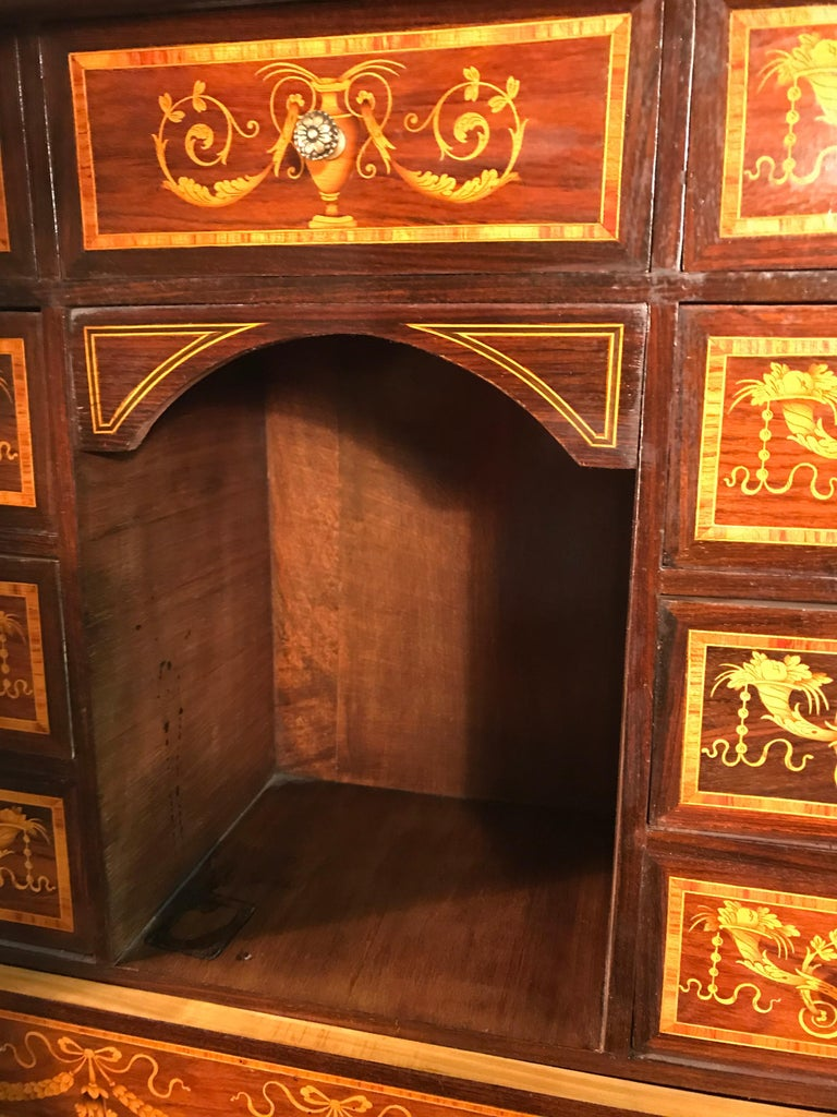 Fall Top Desk, Italy 1870-1890, Manner of Giuseppe Maggiolini In Good Condition For Sale In Belmont, MA