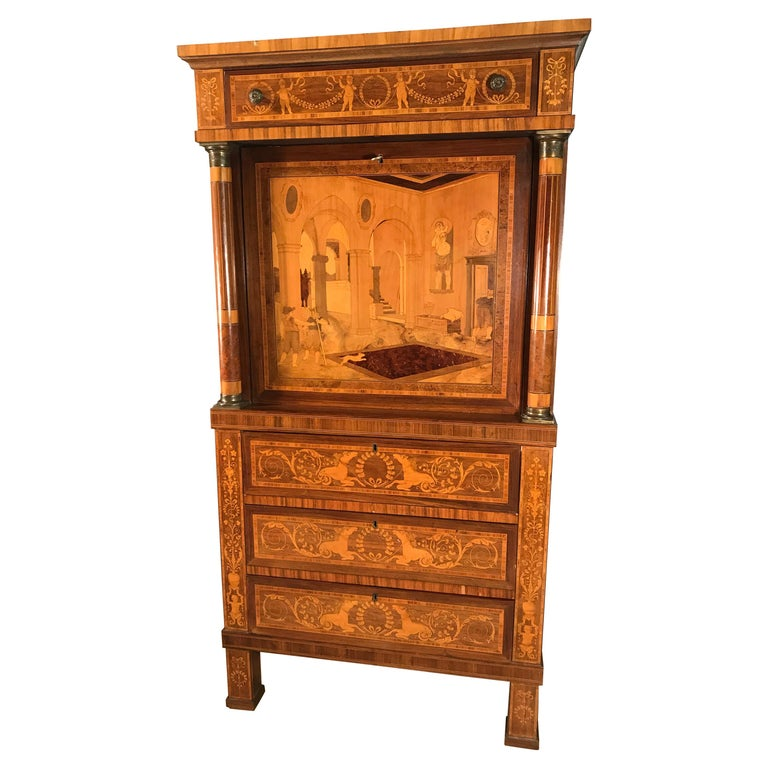 Fall Top Desk, Italy 1870-1890, Manner of Giuseppe Maggiolini For Sale
