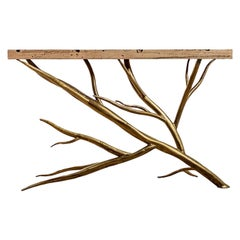Fallen Branch Console Table, Burnished Gold