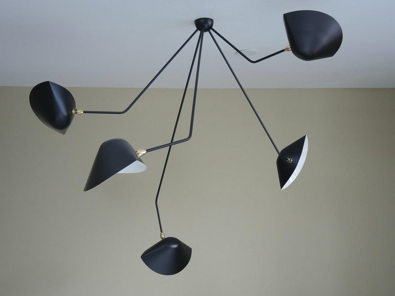 Painted Falling Arm Ceiling Lamp by Serge Mouille For Sale