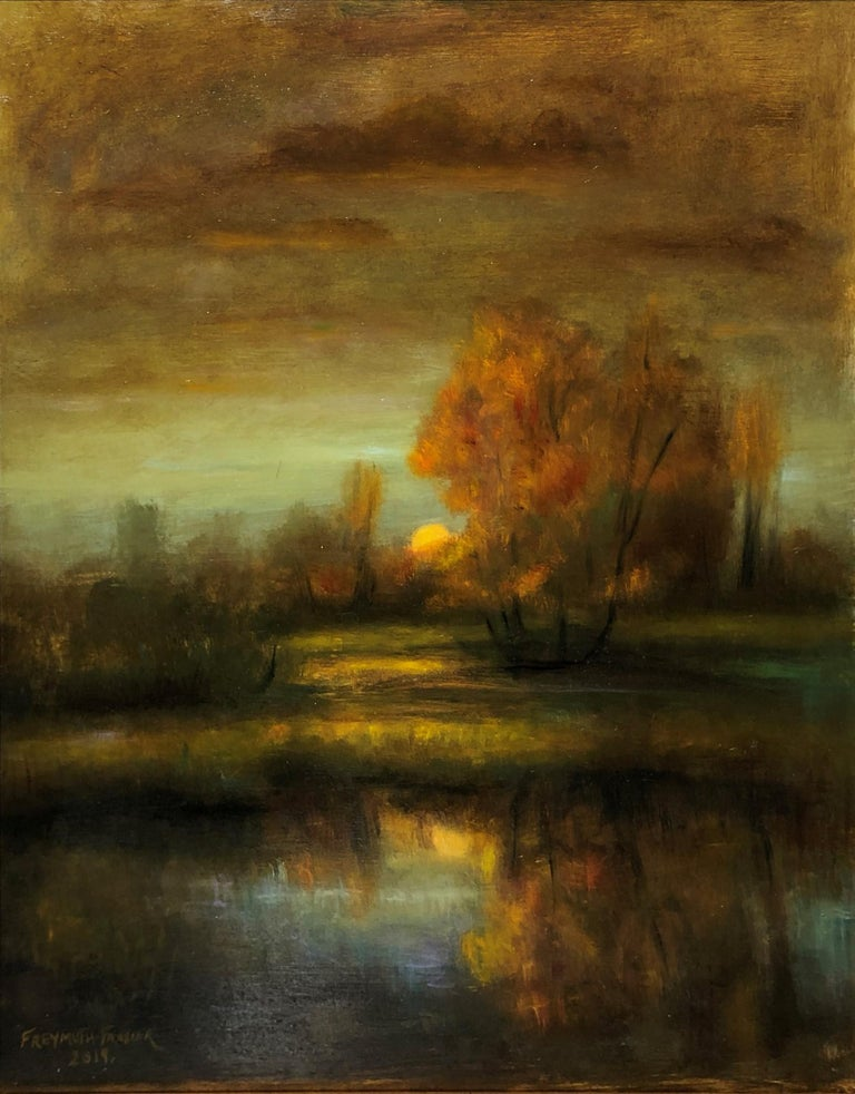 Rich earth tones merge to create this sumptuous landscape by Rose Freymuth Frazier. The setting sun casts dreamy reflections on the pond. The scene is enveloped in soft colors of gold, green and blue to create this romantic landscape. Loose brush