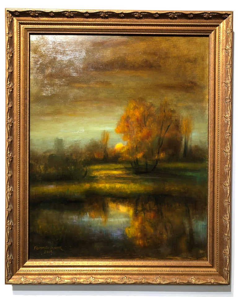Hand-Painted Falling Reflections Original Oil Painting, Soft Light Reflecting Romantic Colors For Sale