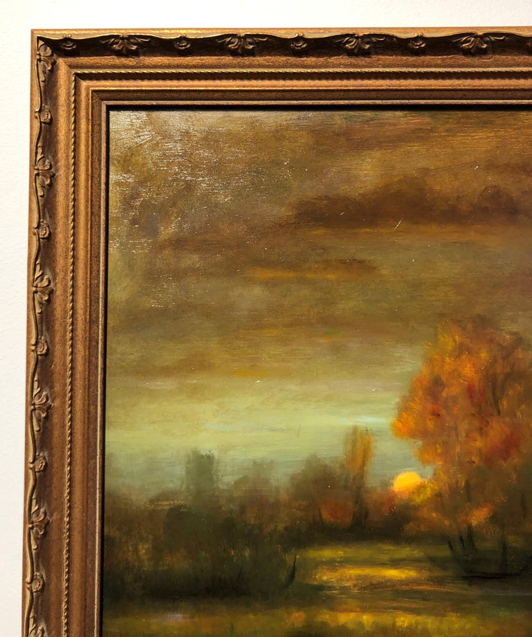 Falling Reflections Original Oil Painting, Soft Light Reflecting Romantic Colors For Sale 4