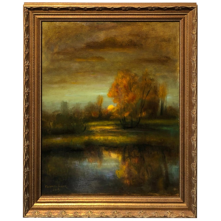 Falling Reflections Original Oil Painting, Soft Light Reflecting Romantic Colors For Sale