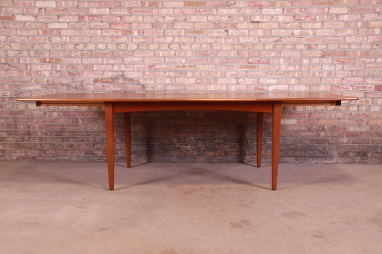 Scandinavian Modern Falster Danish Modern Teak Boat-Shaped Extension Dining Table, Newly Restored For Sale