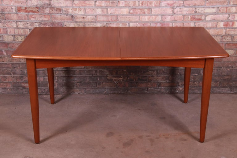 Mid-20th Century Falster Danish Modern Teak Boat-Shaped Extension Dining Table, Newly Restored For Sale
