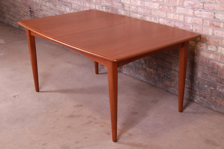 Falster Danish Modern Teak Boat-Shaped Extension Dining Table, Newly Restored For Sale 1
