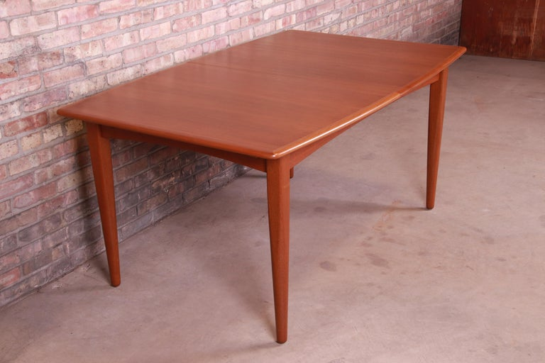Falster Danish Modern Teak Boat-Shaped Extension Dining Table, Newly Restored For Sale 2