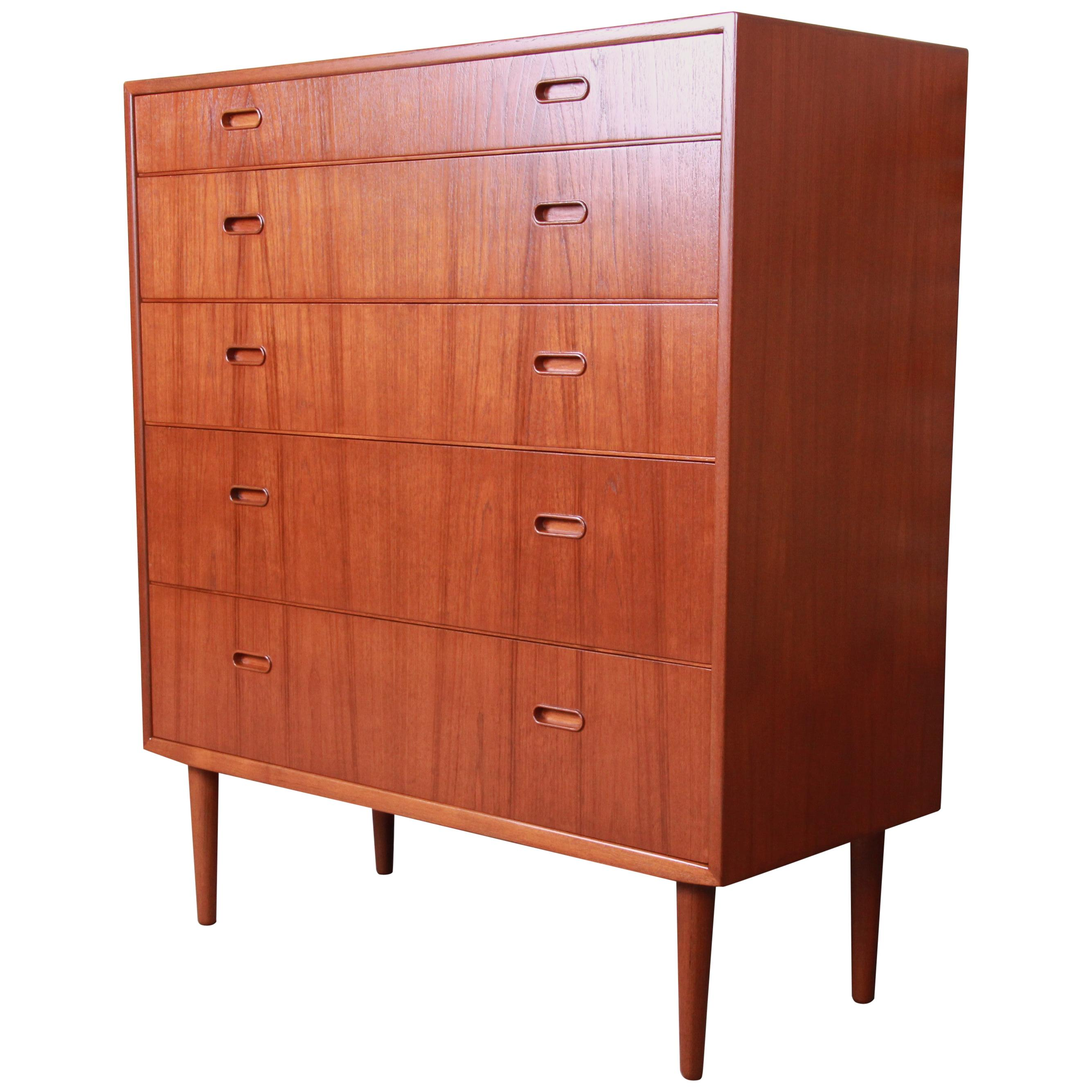 Falster Danish Modern Teak Highboy Dresser, Newly Restored
