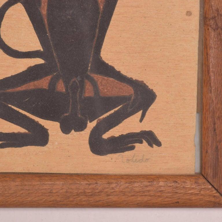 Modern Famed Francisco Toledo Chango Monkey Art Drawing Oaxaca, Mexico