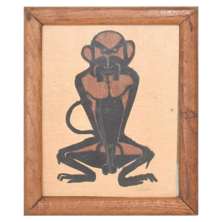 Famed Francisco Toledo Chango Monkey Art Drawing Oaxaca, Mexico