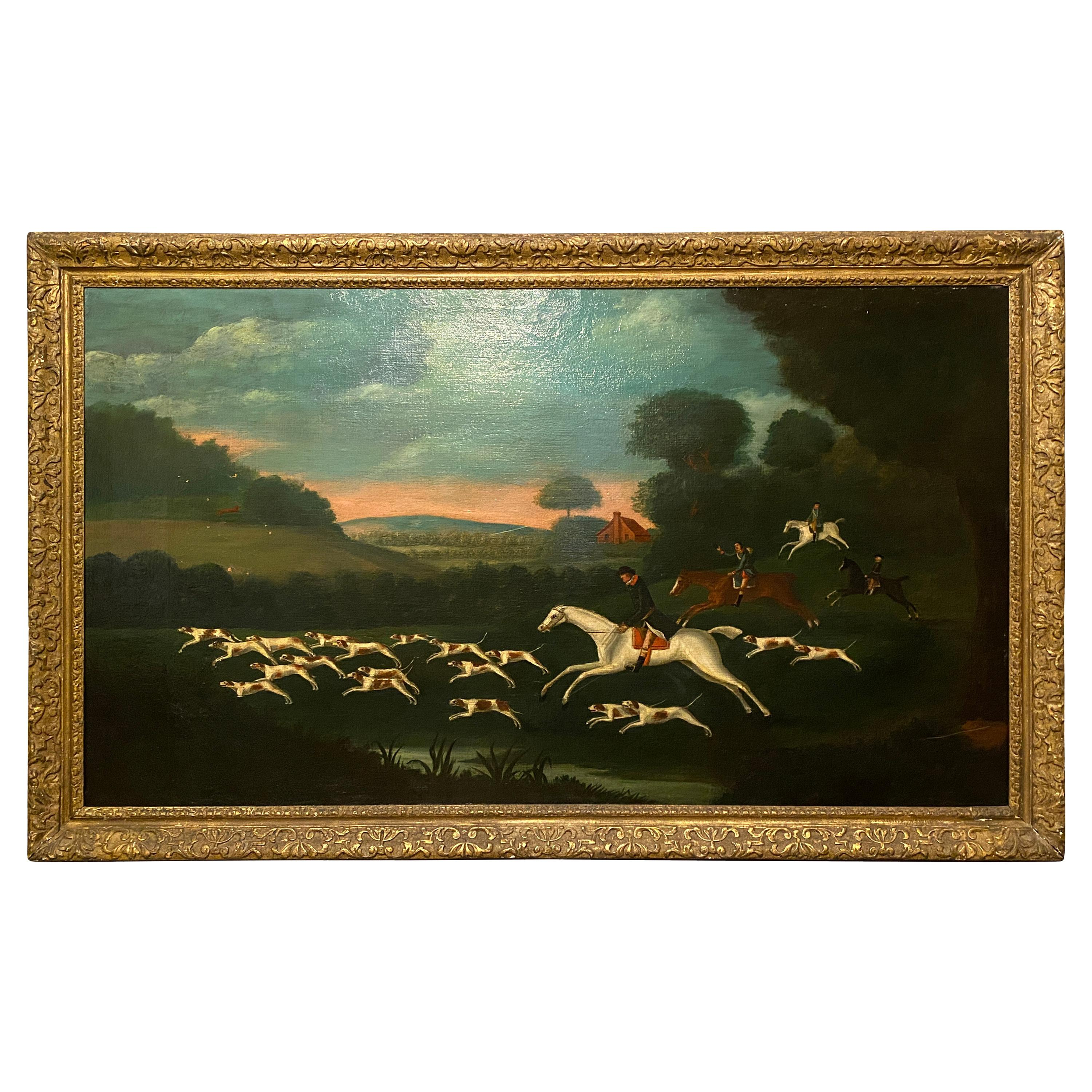 Famed Oil on Canvas Painting of a Fox Hunt