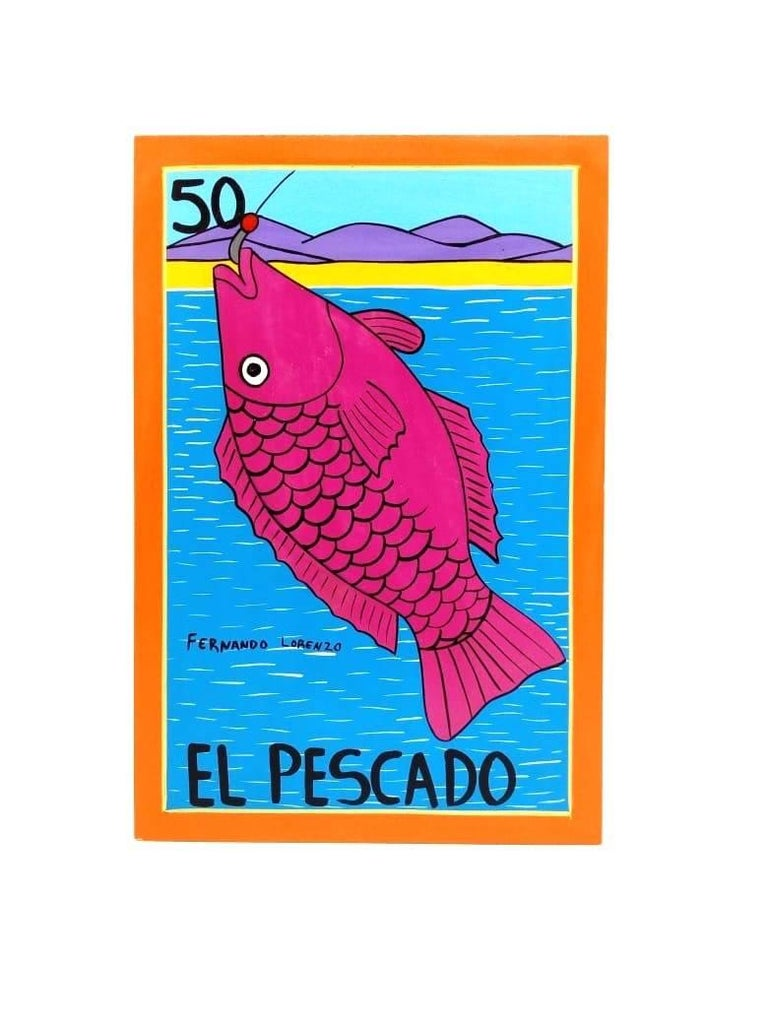 This colorful set of pieces was created by the Mexican artist Fernando Lorenzo. Produced with vinyl paint on wood, these works recreate on a bigger scale images from the popular Mexican game of chance called Lotería, similar to Bingo. Instead of