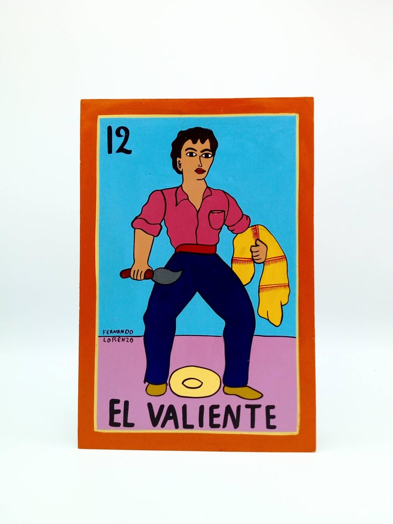 Folk Art Familia Lorenzo, Hand-Painted Wood, Mexican Loteria For Sale