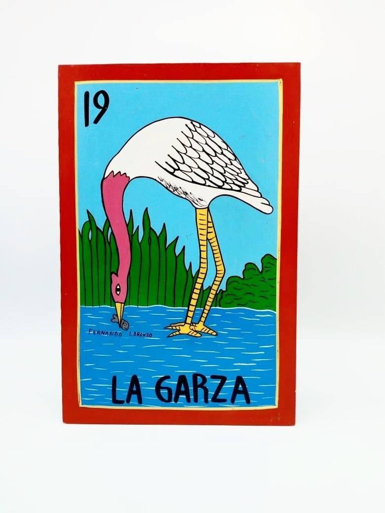 Contemporary Familia Lorenzo, Hand-Painted Wood, Mexican Loteria For Sale