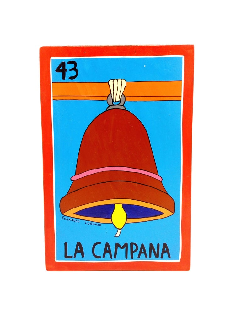 Familia Lorenzo, Hand-Painted Wood, Mexican Loteria For Sale 3