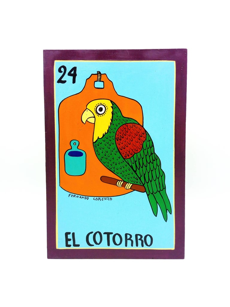 Familia Lorenzo, Hand-Painted Wood, Mexican Loteria For Sale 4