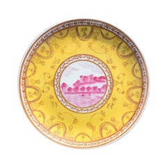 Famille Jaune Famille Rose Yellow and Pink Chinoiserie Chinese Plate