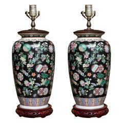 Pair of Famille Noir Vases as Table Lamps