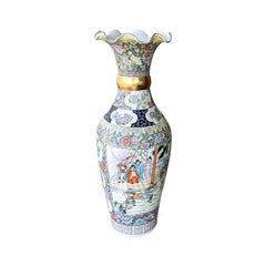 Famille Rose Ceramic Chinoiserie Floor Vase in Gold, Pink and Blue