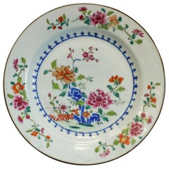 Famille Rose Chinese Export Plate with Floral Detail