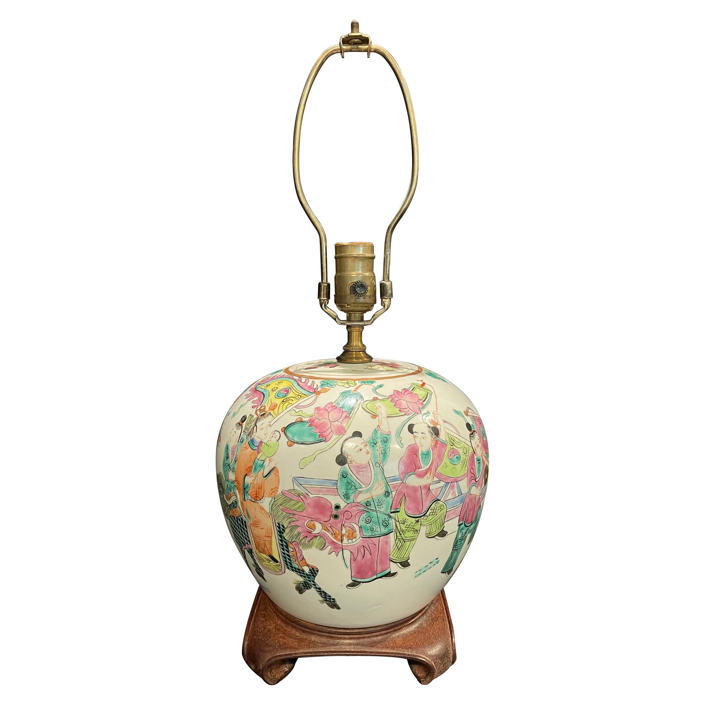 Famille Rose Ginger Jar Mounted as Lamp