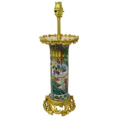 Famille Rose Medallion Canton Cantonese Ormolu Mounted Chinese Porcelain Lamp