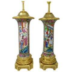 Famille Rose Medallion Canton Cantonese Ormolu Mounted Chinese Table Lamps Pair