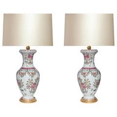 Famille Rose Porcelain Lamps