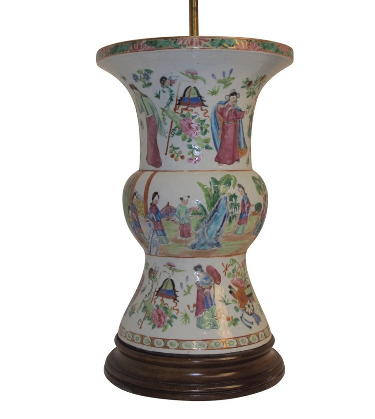 A famille rose pattern vase with hand painted figures, converted to a table lamp, China, mid-19th century. Shade not included.