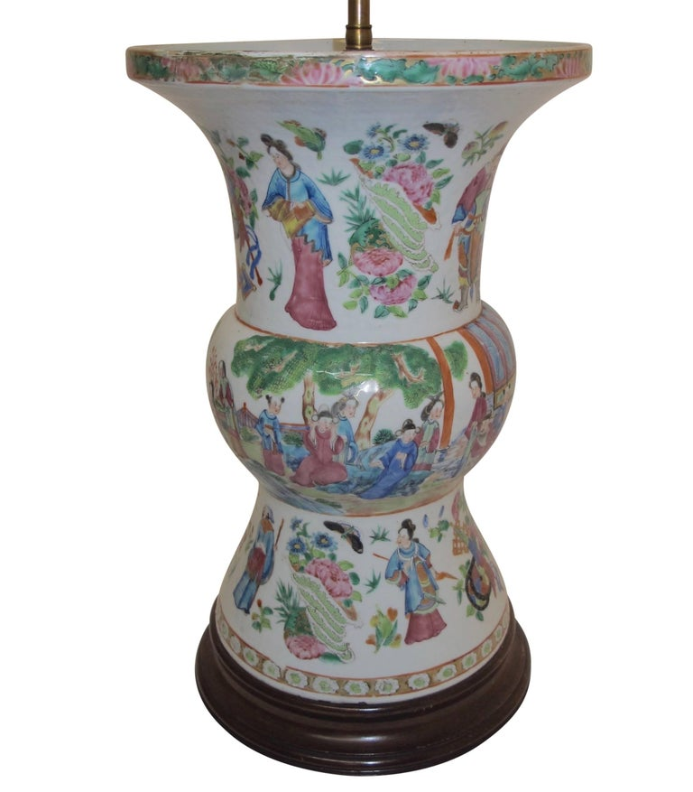 Hand-Painted Famille Rose Vase Lamp with Hand Painted Figures, Chinese 19th Century For Sale
