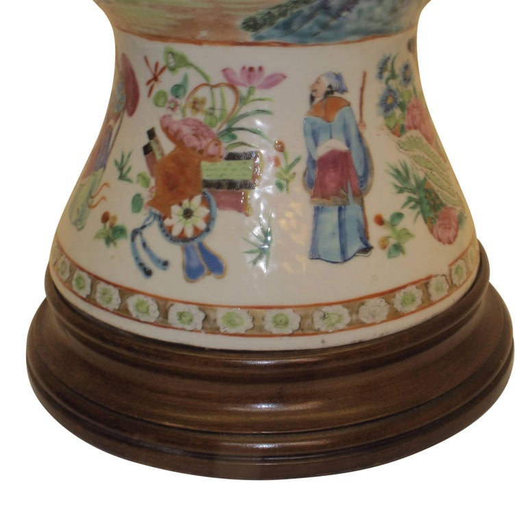 Porcelain Famille Rose Vase Lamp with Hand Painted Figures, Chinese 19th Century For Sale