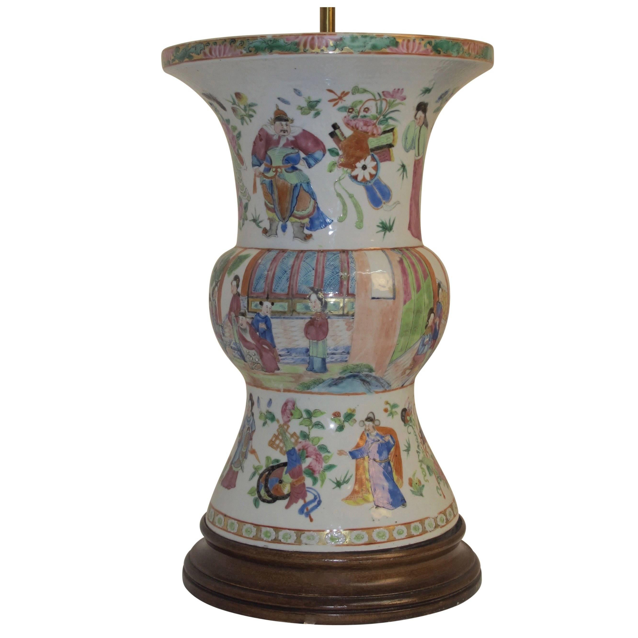 Famille Rose Vase Lamp with Hand Painted Figures, Chinese 19th Century