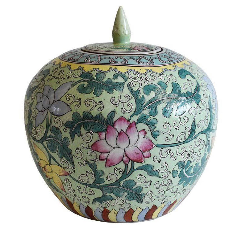 Famille Verte Chinoiserie Ginger Jar With Lotus Flower 18th Century
