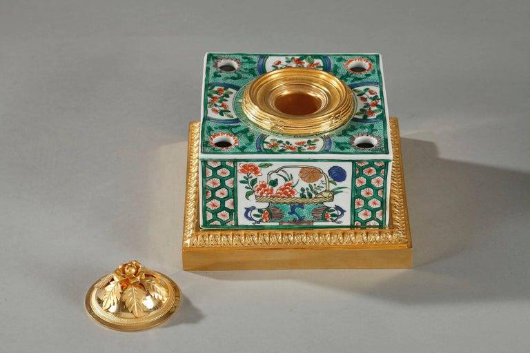 Chinoiserie Famille Verte Porcelain Inkwell by Samson For Sale
