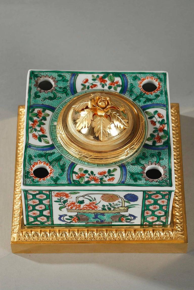 Enamel Famille Verte Porcelain Inkwell by Samson For Sale