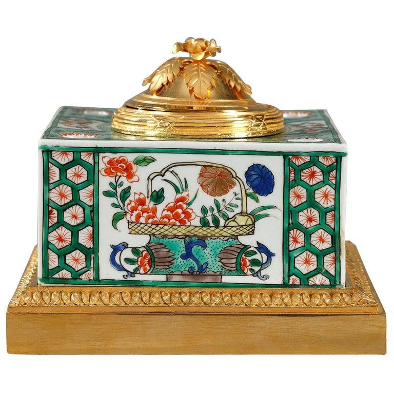Famille Verte Porcelain Inkwell by Samson For Sale