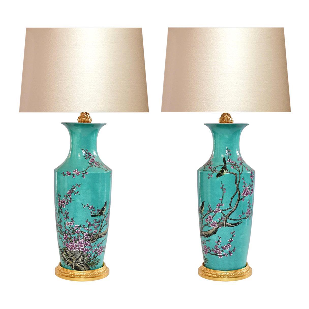 Famille Verte Porcelain Lamps